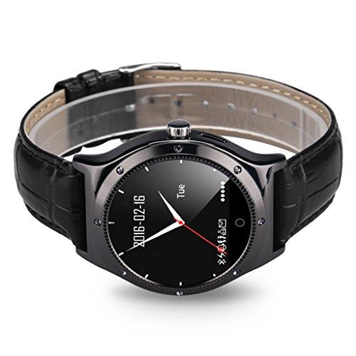 RWATCH RWATCH R11S Smartwatch Herzfrequenzmonitor Remote Capture Pedometer Sedentary Erinnerung Kompass Call / SMS Reminder für Android iOS Schwarz