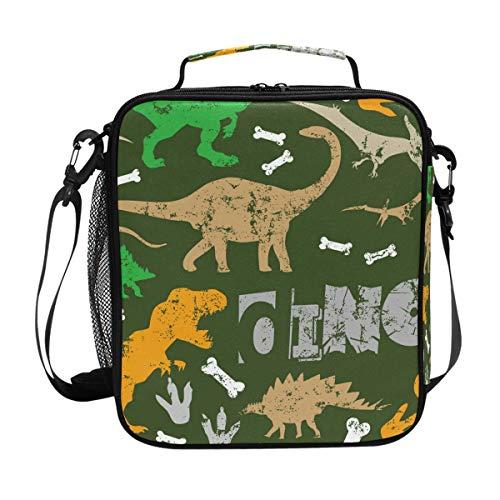 Lunchtasche mit Dinosaurier-Motiv mit Knochen, für Mahlzeiten, Vorbereitung, Lunchbox, Kühler, Schultergurt, für Herren, Damen, Kinder, Jungen, Mädchen, groß, isoliert, Picknick, Schule, Büro -