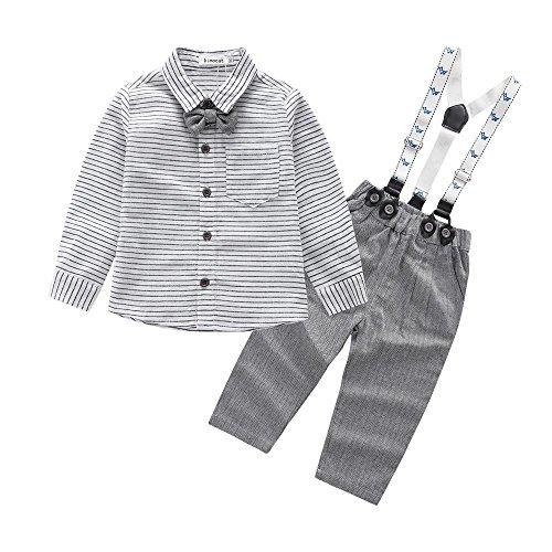 QUICKLYLY 2pcs Niño Bebé Suave Chicos Rejilla Impresión Arco Corbata Largo Manga Blusa Tops + Pantalones Trajes Conjunto (12~18 Meses)