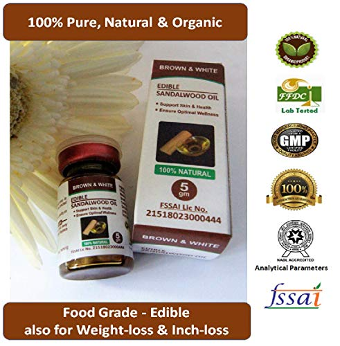 Brown & White 100% Pure EDIBLE Sandalwood Oil - 5gm