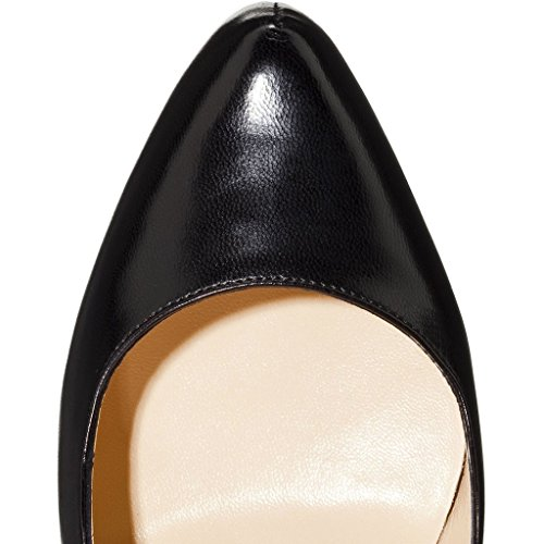 EDEFS Damen Faschion 16cm Baffodile Cork Cap Toe Riemchen Pumps mit Plateau High Heel Schuhe Schwarz