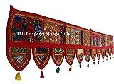 GESCHENKE Mango Ethnic Indian Home Decorative Patchwork & Stickerei Work Überwurf Door Hanging Wandteppich, 198,1x 33cm (rot)