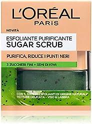 L'Oréal Paris Detergenza Sugar Scrub Esfoliante Purificante Viso & Labbra con Cristalli Fini di Zucchero + Semi di Kiwi, 50