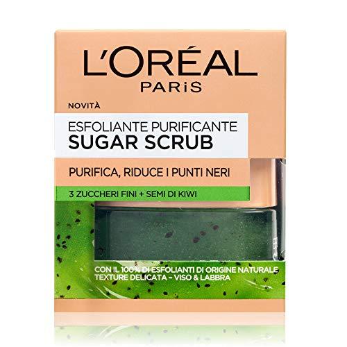 L'Oréal Paris Sugar Scrub Esfoliante Purificante Viso & Labbra con Cristalli Fini di Zucchero + Semi di Kiwi, 50 ml