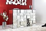 Design Glaskonsole MULTIPLO 130cm Bartresen mit 42 Facette Spiegel Fronten -