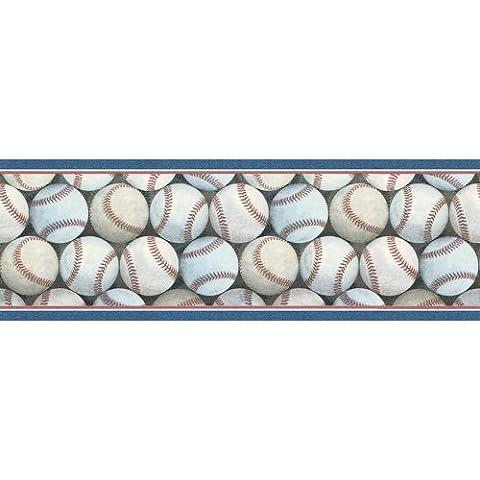 Blue Mountain Wallcoverings FB075271B Baseball Pile Prepasted Wall Border by Blue Mountain Wallcoverings