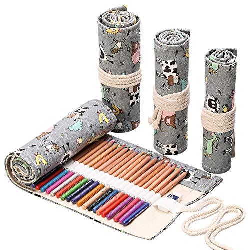 Arrotolabile astuccio per matite colorate astuccio portamatite in tela wrap penna borse organizer vacca da latte grigio, 48 slot