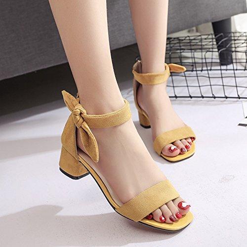 Lgk & fa estate sandali da donna estate sandali tacco yellow