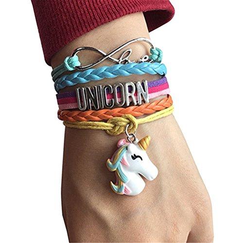 Flybloom Einhorn Armband Bunte Braid Charm Armband Armreif für Damen Mädchen, B