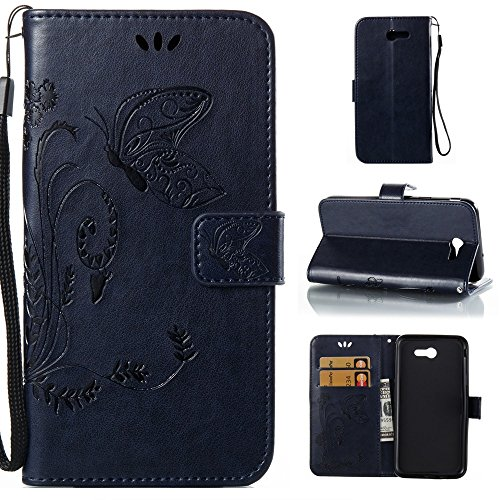 EKINHUI Case Cover Solid Color Faux Leder Bookstyle Brieftasche Stand Case mit geprägten Flower & Lanyard & Card Slots für Samsung Galaxy J7 2017 American Edition ( Color : Gray ) Darkblue