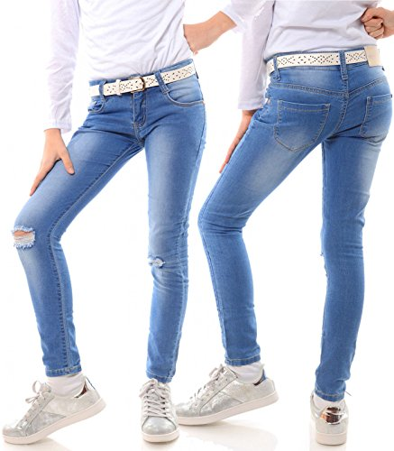 Mädchen Jeans Kinder Hose Stretch Hüfthose Jeanshose Röhrenjeans Jeanshose 21740, Größe:152 (Stretch-bootcut Ziehen)