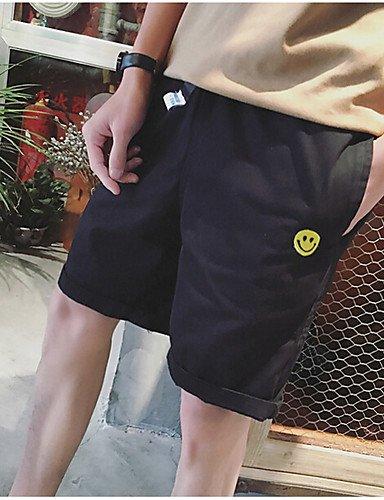 Da uomo A vita bassa Semplice Attivo strenchy Pantaloncini Pantaloni,Comodo Pois Black