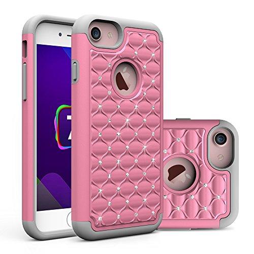 iPhone 7 Plus Hülle, CMID Handy Hard Cover Hybrid Dual Layer Silikon Schutzhülle mit Glitter Kristall Diamant für iPhone 7 Plus (Violett+Smaragdgrün) Pink+Grau
