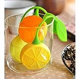 Infuseur thé Boule filtre thé citron, Silicone Boule original inox feuille verte...