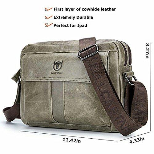 ELASZ Bullcaptain Vintage Shoulder Bag for Men Real Leather Casual Briefcase Messenger Bag (Brown-036) Grigio-035