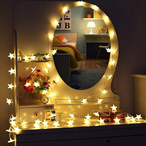 Cadena de luz,5 m, 40 LEDs, guirnalda de estrellas LED, uso interior/exterior,...