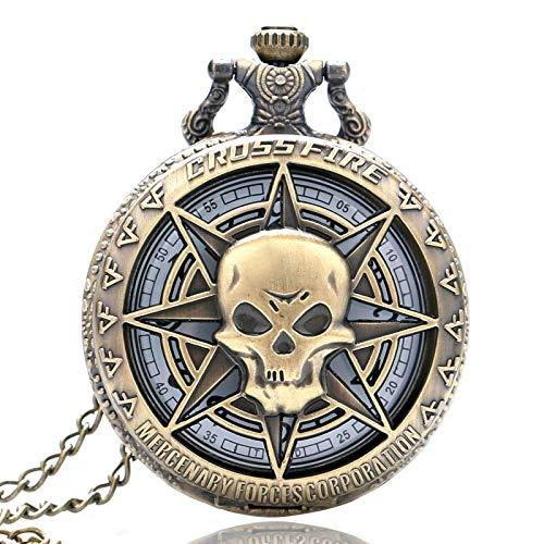 Jlyshop Reloj de Bolsillo para Hombre, Estilo Vintage, diseño de Calavera con...