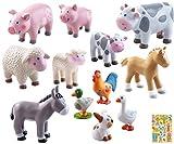 Haba Bauernhoftiere im Set 12-teilig I Little Friends I Fohlen Lissi I Schwein I Schaf I Kuh I Ente I Hase I Spielzeug I Zubehör I Kinder I inkl. Geschenkverpackung
