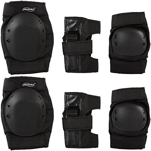 Set di protezioni sport pattini roller skate per ginocchia gomiti e polsi con chiusure a velcro grandezza XL