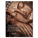Cadre Bouddha Bois avec Citation - Soyez à vous même votre propre refuge...