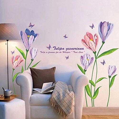 WandSticker4U- Wandtattoo Aquarell Blumen TULPEN in Violett & Rosa   Wandbild: 150x108 cm   Wandsticker Blüten Schmetterlinge Wandaufkleber   Deko für Wohnzimmer Schlafzimmer Küche Bad Fenster Flur XL