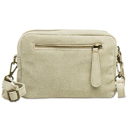 CASPAR TL766 kleine Vintage Wildleder Clutch Tasche Umhängetasche, Farbe:beige;Größe:One Size (Collection Plätze Wildleder)