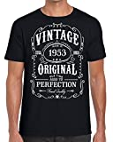 Funky NE Ltd Vintage - Made in 1953 - Aged to Perfection - Ideal Present - Tshirt - 100% Cotton - Small to XXL - 3 Colours - Great Gift Idea Black - L