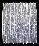 Scheibengardine Kringel 150 cm Hoch | Breite der Gardine durch gekaufte Menge in 11 cm Schritten wählbar (Anfertigung Nach Maß) | Weiß | Vorhang Küche Wohnzimmer
