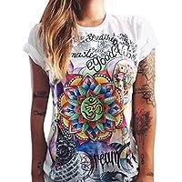 QHGstore maglietta donne gufo lettere occhio maglietta della stampa allentata solido di colore girocollo a maniche corte NO.6 M