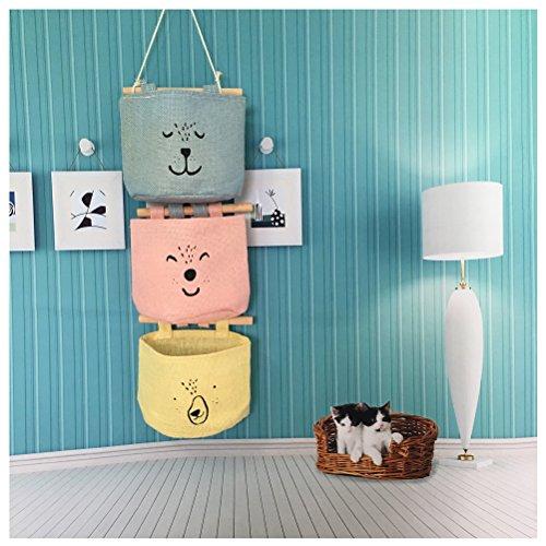 Inwagui Hängender Organizer mit 3 Taschen Hängeorganizer Hängeaufbewahrung Aufbewahrungstasche für Kinderzimmer, Schlafzimmer-Typ C