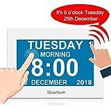 "iGuerburn Talking Dementia Clock Digital Calendar with Date and Time 8"" Touchscreen for Seniors Visually Impaired Blinds Elderly Alzheimer's 8 Alarms Brightness Adjustable (White)"
