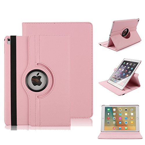 Preisvergleich Produktbild Tasche für iPad 4, elecfan®360° Deluxe Schutzhülle für iPad 2 / 3 / 4 Smart Case Sleep / Wake Funktion 360 Grad drehbar Etui Kunstleder Schutz Hülle Ständer Displayschutz Cover Tasche (iPad 2 / 3 / 4,  Rosa)