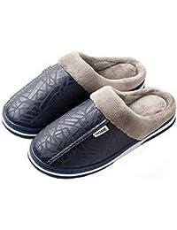 cuero Damas Zapatillas Vamp Unisex Casa Tamaño Zapatillas caballeros Algodón Adultos gran De pqt8n