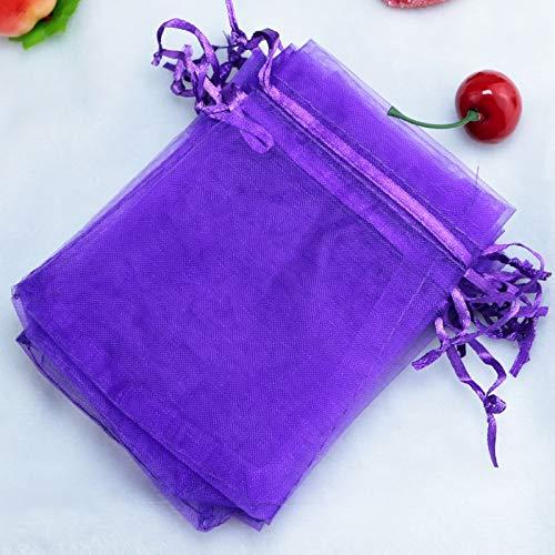 SMHILY 500 Teile/los 17x23 cm Deep Purple Organza Taschen Tüll Hochzeit Gefälligkeiten Boutique Süßigkeiten Geschenke Verpackungsbeutel Nette Kordelzug Geschenk Tasche