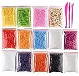 (15 pcs) OOTSR Kit de bricolage de boules en mousse, petit kit en billes de mousse de polystyrène pour filles et garçons, Kit de fabrication de bave faite maison (ne contient pas de bave)
