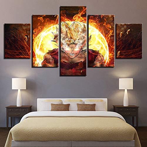 QJXX Leinwanddrucke 5 Panels Segeltuch Wandkunst Super Saiyajin Goku Bilder Drucken Leuchtenden Hintergrund Poster Raumdekor Gemälde HD-Drucke Dekoration für Kinderzimmer,A,40CMx60x2+40x80x2+40x100x1