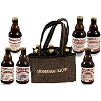 QUATSCHmanufaktur Männerhandtasche/gefüllt mit 6 Bierflaschen �� / witzige Sprüche/Herrengeschenk/Partygeschenk �� / Sixpack/für echte Männer