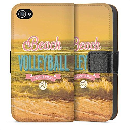Apple iPhone 4 Housse Étui Silicone Coque Protection Volleyball Plage Été Sideflip Sac