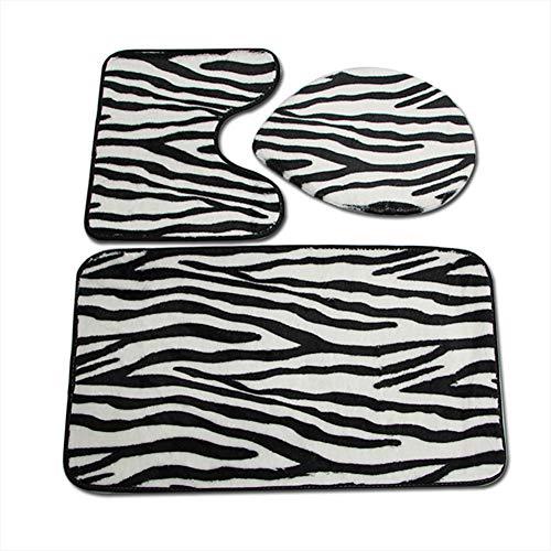 WPY Zebra-Muster Toilette dreiteiliger Teppich Wärmeübertragung Korallenfleece 3-teiliges Bad...
