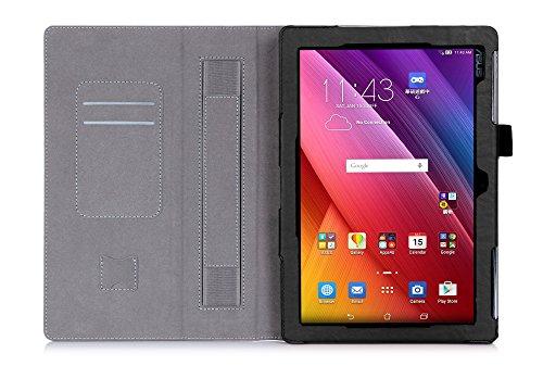 cover per tablet asus ISIN Custodia Tablet Serie Premium Pelle PU Stand Cover per ASUS Zenpad 10 Z300C Z300M 10.1 pollici Android Tablet con Cinturinoi in Velcro e Slot per Schede (Nero)
