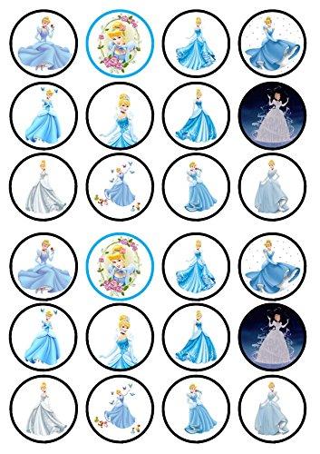 24Cinderella Princess vorgeschnittenen essbare Cupcake Topper-Wafer Karte Disc Kuchen Dekorationen Stand Up, 24 PRECUT (Cinderella Cupcake Kuchen)