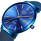 LIGE Ultra Thin Minimalist Analogue Quartz Watch Fashion Blue Stainless Steel Date Watches