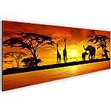 Bild & Kunstdruck Africa 000211a Bilder auf Vlies Leinwand XXL Kunstdrucke, Elefant, African Sunset, 110 x 40 cm Wandbild Wanddeko