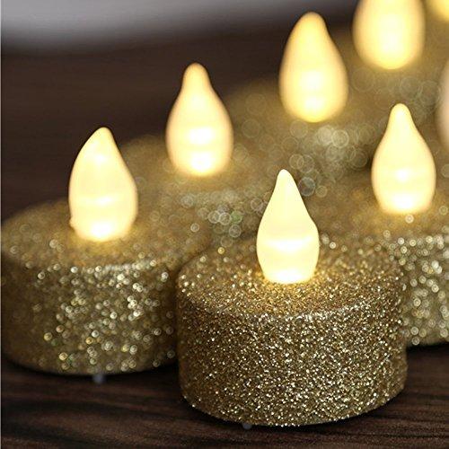 Gold Votiv-kerze (loguide Glitzer Votiv Teelicht LED Flammenlose Kerze Powered by Akku Beleuchtung für Hochzeit Weihnachten Aufsteller Dekoration Gold-12pcs)