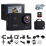 """Action-Kamera 4K 16MP Wi-Fi Sport Cam Unterwasser 30M Tauchen Camcorder mit 2,0 """"LCD-Bildschirm, 170 ° Weitwinkel (Portable Case + 2 Batterien + 2.4G Fernbedienung + Stativ + Akku Lade Dock)(GB/UK Stecker ) - Schwarz"""