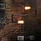 Alppq Creativo Decorazione Industriale Retro Parete Light Bar Cafe Internet Cafe Corridoio Scale Parete Lanterna Tubo di acqua Lampada da parete doppia testa Metallo rustico Steampunk Wall Sconce 2 lu