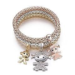 Idea Regalo - Braccialetto di fascino per donne, collana di ciondolo per bimbi Braccialetto di amicizia per bracciale con cristallo (3 pezzi/set) (Mescola colore)