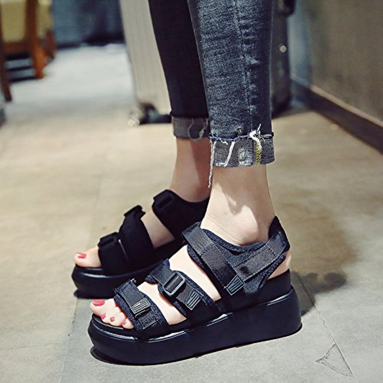 f37a9782273e8 sohoeos bout ouvert sandales femme féminine kaka / tissu tissu tissu / open  tep / Rouge Noir Blanc beach chaussures student summer nouveau épais ...