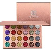 Paleta de sombras de ojos con purpurina prensada en 24 colores, metálica, muy pigmentada, resistente al agua, de larga duración