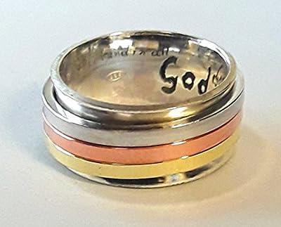 Bague anxiety ring, en argent 925, avec trois anneaux qui tournent librement de cuivre, laiton et de argent; avec texte personnalisé